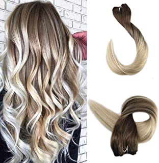 Full Shine 16 Inch Natural Human Hair Bundles #8 Light Brown Color Fading to #60 Platinum Blonde Balayage Hair Extensions 100 Gram Per Set Remy Hair Weft Sew in Weave Hair Extension