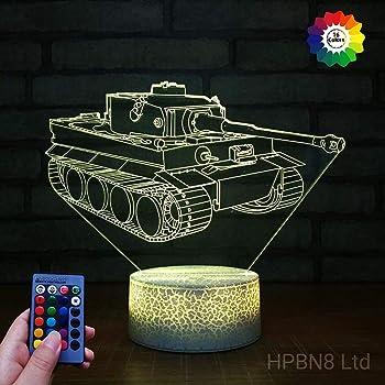 Optische Tauschung 3d Panzer Nacht Licht 7 Farben Andern Sich Usb Adapter Touch Schalter Dekor Lampe Led Lampe Tisch Kinder Geburtstag Weihnachten Geschenk Amazon De Beleuchtung