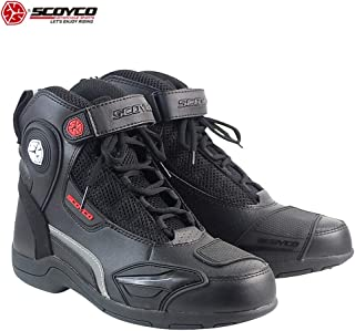 SCOYCO Motorcycle Speed Boots Anti-skip Breathable Safety Shockproof High Ankle Riding Boots Protection Gear Biker shoes MT015 (US8.5(EUR42))