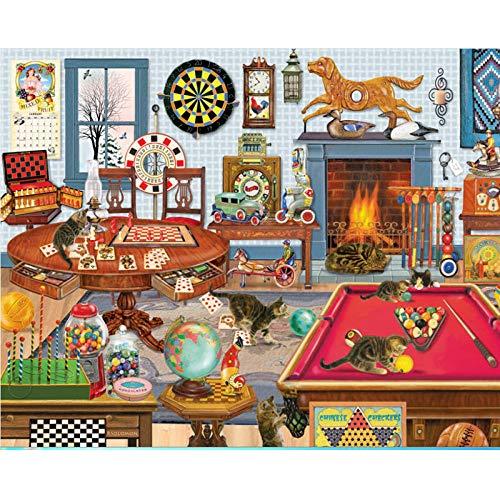 wanghan Jigzaw Puzzle 1000 Teile Puzzle für Erwachsene Puzzle Gehirn IQ Entwicklung von Spielzeug Erwachsene Lernspielzeug Tierkatze auf dem Billardtisch-50x75cm