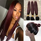 100% Unprocessed Brazilian Hair 3 Bundles Remy Straight 360 Lace Frontal Band with Omber Hair Weft Weave Two Tone #1B with 99J Red Wine 360 Full Lace Frontal Closure Hair Extensions