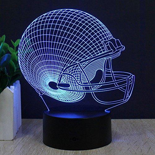 Casque de football 3D Lampe d'illusion d'optique , FZAI 7 couleurs Interrupteur tactile Lampes de nuit LED de bureau avec Câble USB 150 cm pour Des gamins Noël Cadeau Décoration de maison