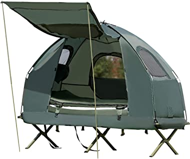 Tangkula 1-Person Tent Cot, Foldable Camping Tent with Air Mattress and Sleeping Bag, Elevated Camping Tent with Carry Bag, P