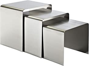 Modway Rush Brushed Stainless Steel Metal 3-Piece Side Nesting Table Set In Silver