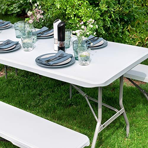 Vanage Gartenmöbel-Sets Bierbankgarnitur Fred Kunststoff, zusammenklappbar, weiß - 5