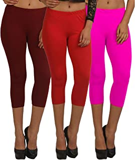Fablab Capris for Girls_Ladies_Womens_Cotton_Lycra_3/4 th Pant Capri_CLS_190-3-11MRP,MaroonRedPink,Free Size Combo Pack of 3.