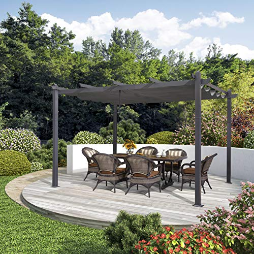 PURPLE LEAF 10' X 13' Aluminum Outdoor Retractable Pergola Canopy Deck Garden Grape Trellis Pergola Patio Gazebo, Gray
