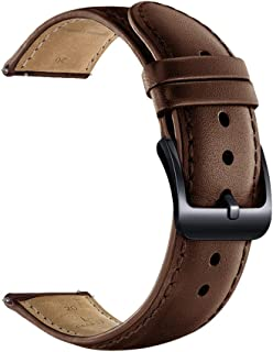 20mm Watch Band, 22mm Watch Band, LEUNGLIK Quick Release Leather Watch Bands with Black/Brown/Gray Stainless Pins Clasp