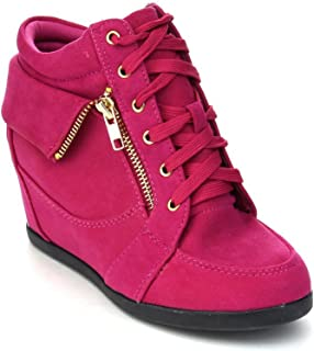 Link Gladys-24K Children Girl's Comfort Hidden Wedge Lace Up Ankle Sneakers