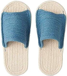 Muji Indian Cotton Blend Open Toe Room Sandals - XL (Ecru/Blue)