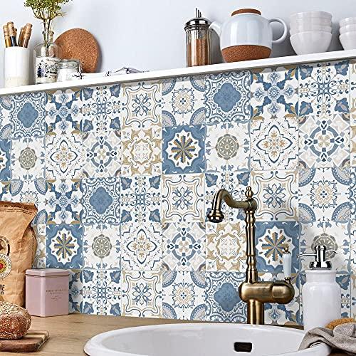 Vinilos Pared Cocina Azul Beige Blanco Vinilo Adhesivo Cenefas Adhesivas Baño Cocina...