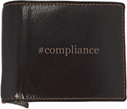 #compliance - Soft Hashtag Cowhide Genuine Engraved Bifold Leather Wallet