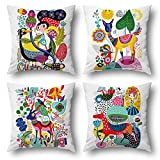 Wyooxoo Decorative Pillow Covers 18x18 Kids Cartoon Animal Throw Pillow Covers Colorful Home Decor Outdoor Linen Pillow Cases for Girls Children Room Living Room Sofa Couch Patio Furniture Set of 4