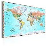 murando englische Weltkarte Pinnwand & Vlies Leinwand Bild 120x80 cm XXL Bilder mit Kork Rückwand Set mit 50 Markierfähnchen-Pinnnadeln Korktafel Kunstdruck...