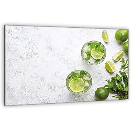 decorwelt Plaque de protection universelle pour plaque de cuisson 80 x 52 cm - En 1 pièce - Vert citron - Protection anti-éclaboussures en verre - Pour plaque de cuisson électrique à induction