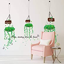 QWERGLL Wall Sticker Green Hanging Basket Bedroom Living Room Decorative Wall Stickers Background Stickers Paper Plane Mural 50 * 70