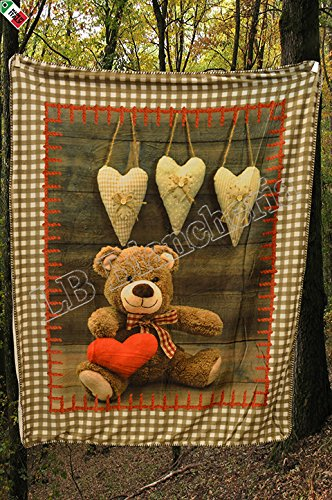 Lovely Home - Coperta Plaid agnellato cm 130X160 Country Chic Orsetto Teddy- Stampa digitale- Idea Regalo NATALE