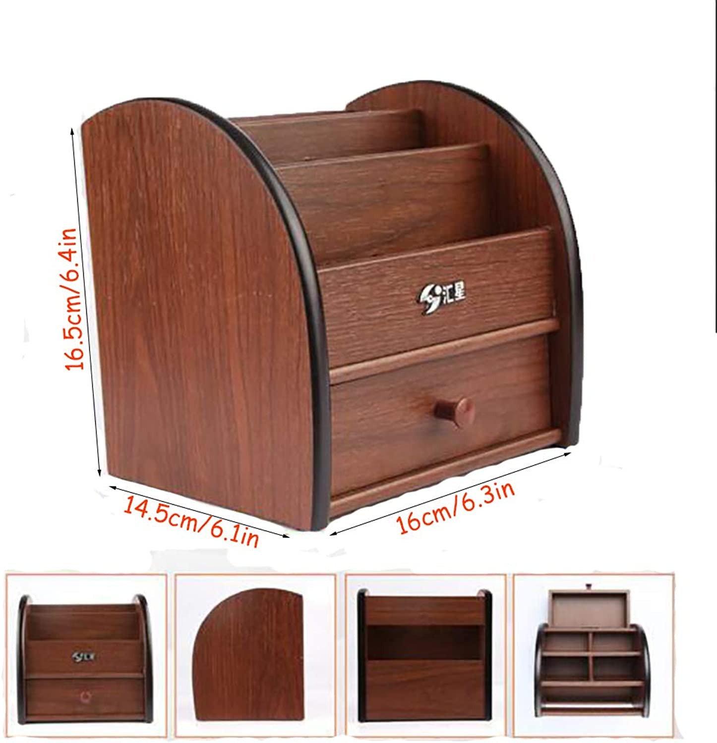 Wood Pen Holder with Drawer, Multifunction Durable Mobile Phone Sundries Rack Remote Control -B 16x14x16cm(6x6x6)