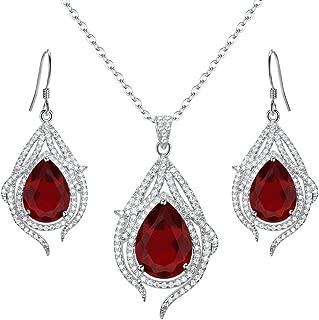 925 Sterling Silver Cubic Zirconia Teardrop of Angel Bridal Pendant Necklace Hook Earrings Set