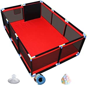 Playpen Extra Large Red Safety Kids Playard with Ball  amp  Crawling Mat  Rectangular Baby Room Divider Play Pen Fence for Nursery  66cm Height  Size 128 190 66cm