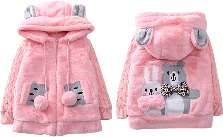 FEESHOW Kids Girls Fleece Cartoon Bear Winter Warm Hooded Outerwear Zipper Jacket Coat Overcoat