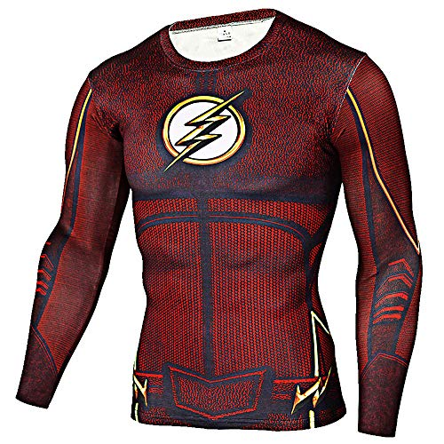 CoolMore Super Man Compression T Shirts Long Sleeve Cosplay Tops Tee for Man 3D Printed T Shirts (Flashman Red, XXXL)