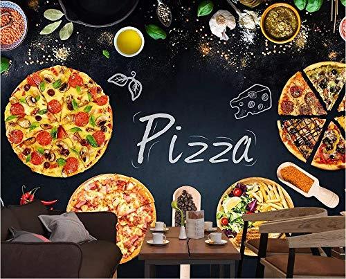 Pegatina De Niños Para Pared 3D 250*175Cm Pizarra Personalizada Pizza Papas Fritas Restaurante De Comida Rápida Papel Tapiz Mural 3D Fondo Fotográfico Autoadhesivo Pintura De Pared 3D Arte Dormitorio