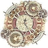 Reloj de Pared Rompecabezas de Madera 3D para Adultos y Adolescentes, Kit de Modelo de Reloj de Pared mecánico - Reloj de Pared del Zodiaco (Color : Wood Color)