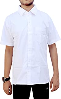 Henco Men/Women/Boy/Girl Formal White Half Sleeves Plain Shirt for Professionals, Doctors, Lawyers, Students, etc.