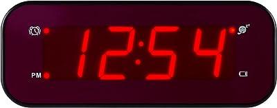 Timegyro LED Wecker einfache Einstellung und Batterie betrieben nur große rote Ziffern für Schlafzimmer/Wohnzimmer/Reise (schwarz)