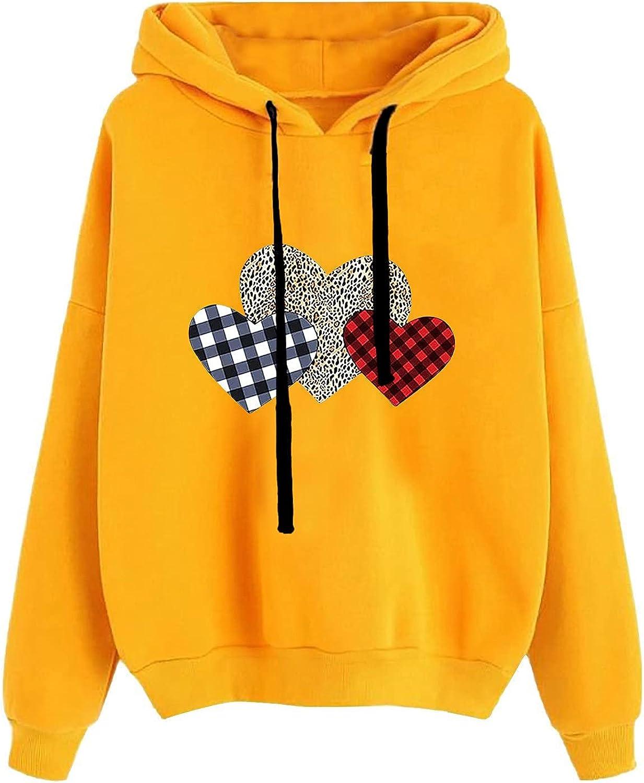 Womens Love Graphic Hoodies Long Leopard Low price Blouses [Alternative dealer] Sleeve Printed