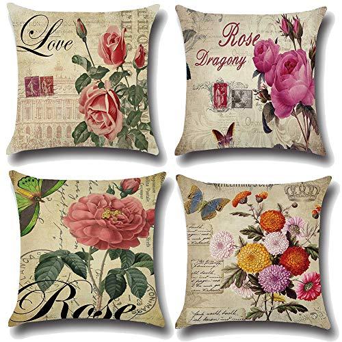 JOTOM Dekokissen Kissenbezüge Kissenhülle Fall Abdeckung Kissenbezug für Home Sofa Auto Decor 45 x 45 cm,Satz von 4 (Blumen)