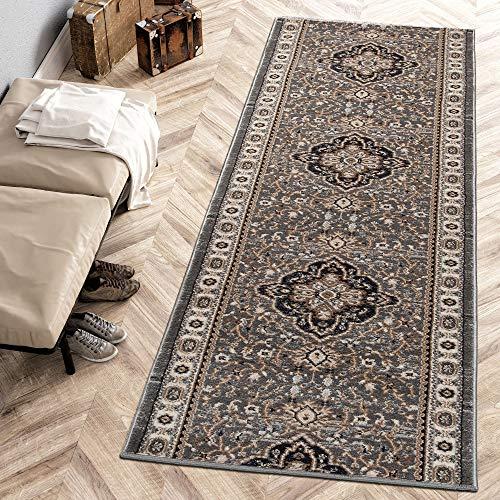 Carpeto Rugs Läufer Teppich Grau Orientalisch Flur Eingangsbereich Meterware - Teppichläufer in Viele Größen 70 x 180 cm
