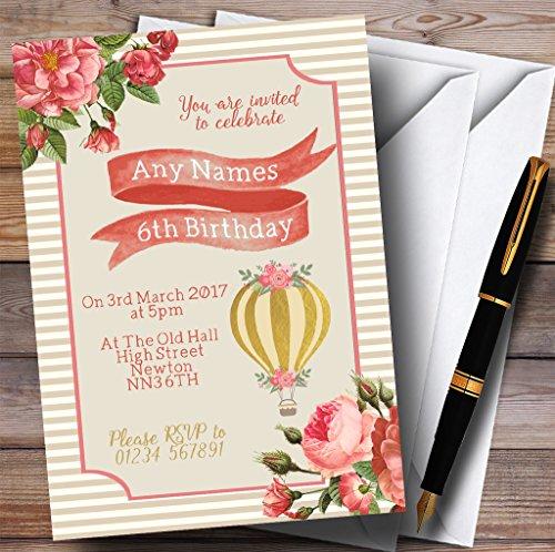 Bloemen Roze Goud Hot Air Ballon Kinderen Verjaardag Party Uitnodigingen 60 Invitations