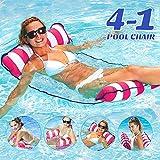 Cama flotante, Hamaca de agua, hinchable, tumbona de salón cómoda portátil, flotador para piscina, playa, para adultos y niños (rosa)
