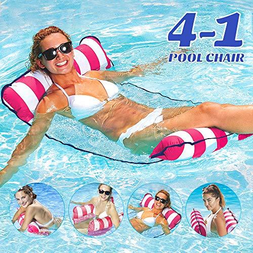 COWINN Aufblasbares Schwimmbett, Wasser-Hängematte 4-in-1Loungesessel Pool Lounge luftmatratze Pool aufblasbare hängematte Pool aufblasbare hängematte für Erwachsene und Kinder (Rosenrot)