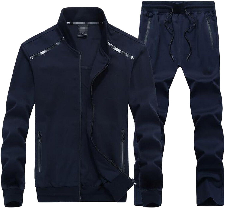 Cromoncent Men Active Sweatsuit Stand Collar Jacket Sweatpants Plus Size Tracksuit