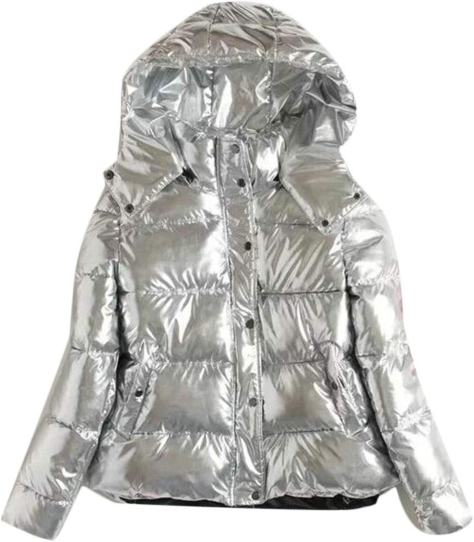 WSPLYSPJY Women's Winter Puffer Jackets Metallic Padded Hoodies Down Coat