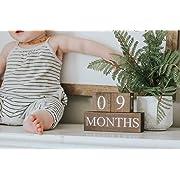 Sweet Sage Studio Wood Baby Milestone Blocks - 6 Color Styles - Best Baby Age Photo Props, Wooden Age Blocks, Baby Photography Props, Nursery Decor, (Dark Stain)