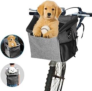 Transportín de bicicleta para mascotas, con 2 bolsillos grandes de malla, multifuncional 3 en 1 con correa para el hombro portátil, transpirable, para perros, gatos y perros pequeños
