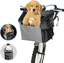 Arkmiido Bicycle Pet Carrier Basket Bag Dog Bike Front Carrier Portable Breathable Dog Carrier for Cats Puppy Dogs with Soft Mat Mesh Pockets Shoulder Strap for Travelling Outdoors