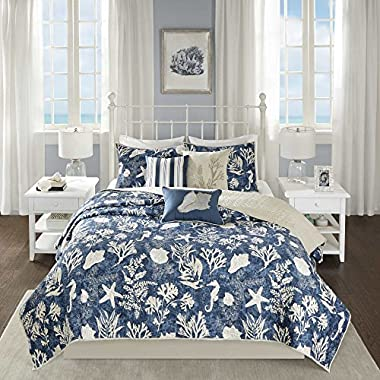 5 Piece Underwater Sea Creatures Theme Coverlet Set King/Cal King Size, Printed Coastal Coral Reefs Seahorse Sea Shells Starfish Bedding, Whimsical Rich Nautical Design, Fun Animals Motif, Navy, Ivory