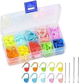 段数マーカー 編み物 ステッチマーカー カラフル 編み物マーカー 10色 120個セット とじ針 収納ケース付き