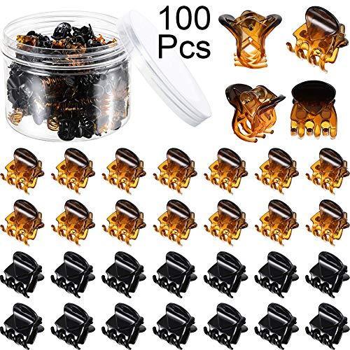 Queta 100 Stücke Mini Schwarz und Braun Haarklammern Kunststoff Haarklammern