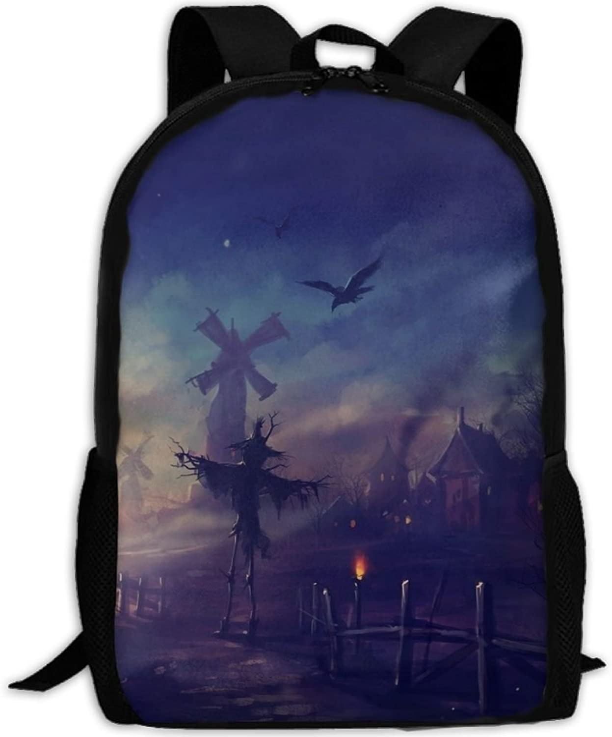 b99b3376c7d6 Backpack Laptop Hiking School Bags Scary Happy Halloween Shoulder ...