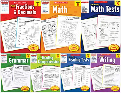 Scholastic Success With - Grade 5 Set (7 books): Fractions&Decimals 5, Math 5, Math Tests 5, Grammar 5, Reading Comprehension 5, Reading Tests 5 and Writing 5