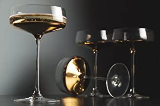 Barski - Handmade Glass - Champagne Saucer - Decororated And Dipped in 20 K gold on the bottom - 10 oz. - Gift Boxed - Made in Europe - Set of 4