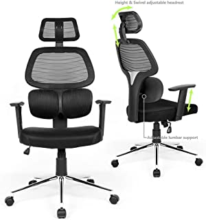 FurnitureR High Back Home Office Chair Height Adjustable and Swivel Headrest Armrest with PU Pad Infinite Lock Mechanism, 100mm gaslift