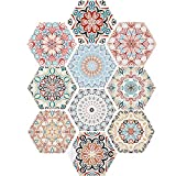 Irich 10 Piezas Pegatinas de Baldosas, 20 × 23CM Hexágono Decorativos Adhesivo para Azulejos para Cocina y Baño con 10 Mandala Estilo Patrones