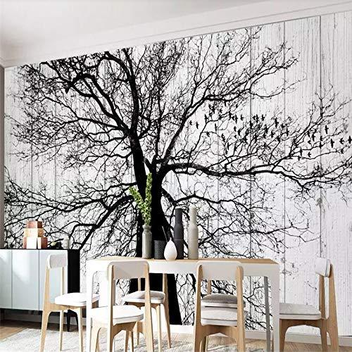 Fotobehang Fotohuis Moderne Minimalistische Zwarte en Witte Boom Woonkamer TV Achtergrond Muur Aangepaste Grote muurschildering Groen Behang